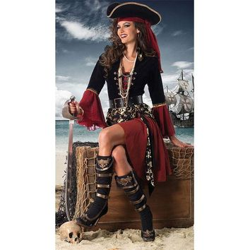 ONETOW Adult Halloween costume masquerade performances Pirates of the Caribbean pirate captain cos [8979070023]