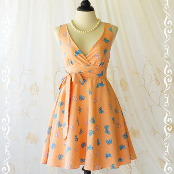 My Lady II Spring Summer Sundress Pale Tangerine Dress V Neck Party Tea Dress Vintage Design Orange Bridesmaid Dresses XS-XL Custom