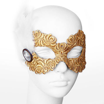 Gold Embroidery Masquerade Mask With White Feathers  -  Lace Covered Venetian Style Prom Mask With Large Acrylic Gem
