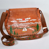 Vintage 60s Tooled Leather Hippie Cross Body Shoulder Floral Handbag Bohemian Boho Chic Purse w/ Trees, Clouds + Sailboat on the River Scene