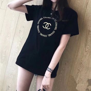 """""""Chanel"""" Women Classic Simple Casual Letter Embroidery Short Sleeve T-shirt Top Tee"""