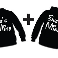 Disney He's mine She's mine. TWO Hoodies For 49.99 Personalize your sweaters Add LastName or Date for a perfect love gift