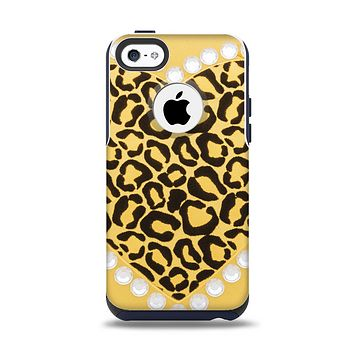 The Yellow Heart Shaped Leopard Apple iPhone 5c Otterbox Commuter Case Skin Set