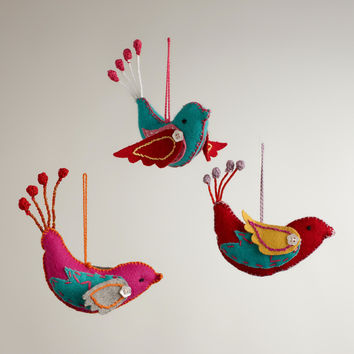 Felt Stitched Bird Ornaments,  Set of 3 - World Market