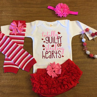 Infant Valentines Day Outfit, Newborn Girl Valentine Outfit, Valentine Outfit , totally guilty of stealing hearts outfit, Baby Shower,