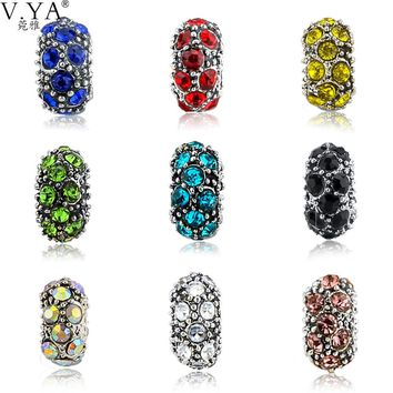 V.Ya 1 piece of DIY CZ Crystal Loose Beads fit for Pandora Black Colorful Cubic Zirconia Round Bead for Chain Accessories TZ7