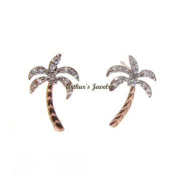 SOLID 14K ROSE GOLD HAWAIIAN PALM TREE DIAMOND STUD POST EARRINGS