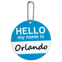 Orlando Hello My Name Is Round ID Card Luggage Tag