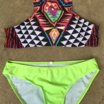 Neon lime geometric halter swim set from PeaceLove&Jewels