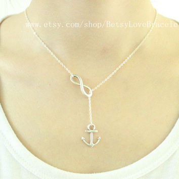 Anchor and Infinity Lariat - Lariat Necklace Y necklace