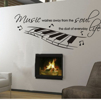 Wall Decal Musician Music Soul Life Piano Musical Quote Home Decor Vinyl Sticker