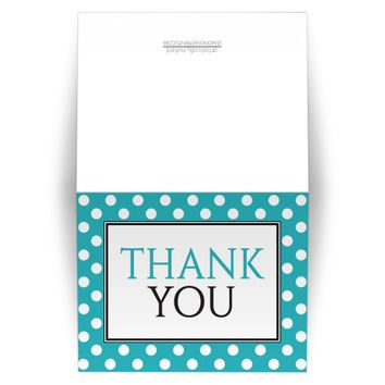 Thank You Cards - Polka Dot Turquoise Pattern