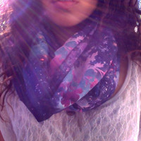 Dark night- unique print infinity scarf with cute lace bow on back