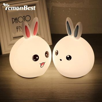 Bunny LED Night Light with Remote Tap Control/Rechargeable Beside Lamp for Child