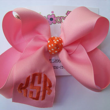 Large Natural Circle Script Triple Monogram Boutique Hair Bow Choose Color Karens Creations