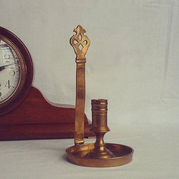 Antique Solid Brass Candle Holder