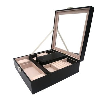 KLOUD City Jewelry Box - Classic Jewelry Organizer , Large Mirror & 2 Trays for Women Teens and Girls - Holder for Earring Ring Necklace Bracelet -PU Leather (black)