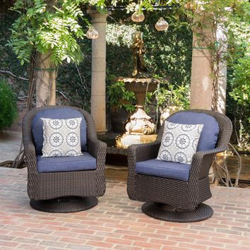 Linsten Outdoor Wicker Swivel Club Chairs with Water Resistant Cushion