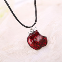 Movie Once Upon a Time Regina Mills Red Apple Crystal Pendants & Necklace Charm Necklace Collar Women Accesorios Mujer
