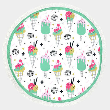 White Multi-Color Ice Cream Cone Pattern Round Cotton Beach Towel with Tassel Trim, Beach blanket, Rug