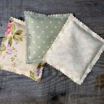 Lavender Fabric Sachets, Sachet Pillows, Wedding Favor, Baby Shower Favor, Lavender Scented Drawer Sachet Pillows, Set of 3