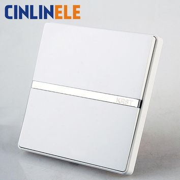 1Pcs Luxury Wall Switch 1 Gang 1 Way Ivory White Brief Art Weave Light Switch AC 110~250V 10A No border design 86mm*86mm