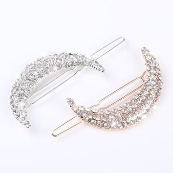 2pcs Newest Crystal Moon Rhinestone Hair Accessories For Women Hair Clips For Girls Headdress Hairpin Clamps