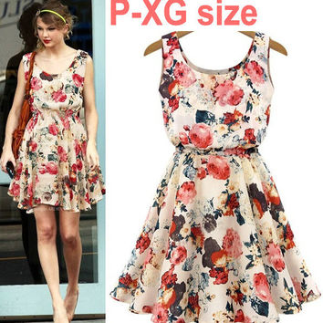 Floral Print Sleeveless A-Line Skater Dress
