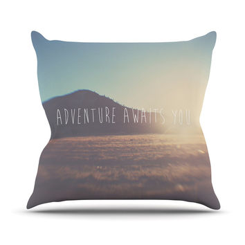 "Laura Evans ""Adventure Awaits You"" Coastal Typography Outdoor Throw Pillow"