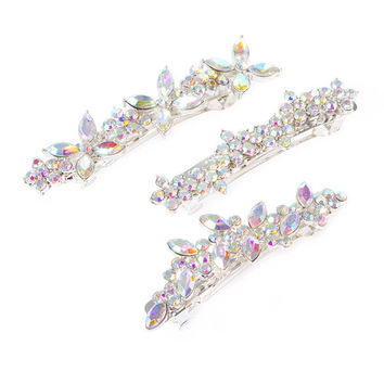 Katy Perry Aurora Borealis Crystal Floral Cluster Hair Clips Set of 3