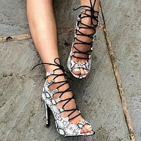 Snake-grain Pattern Peep Toe Lace Up Stiletto High Heels Sandals