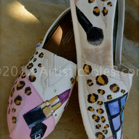 Cosmetics & Leopard Print Custom Hand Painted TOMS Shoes