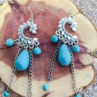 Turquoise stone earrings bracelet