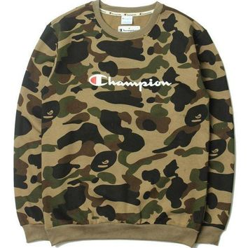 Champion Camouflage Letters Long Sleeved Sweater
