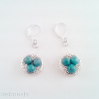 Bird Nest Earrings, Turquoise Dyed Jasper Eggs with Silver Plated Wire Nest
