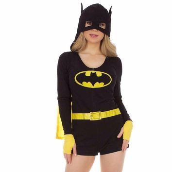 Batman Symbol Hooded Romper DC Comics Pajama Sleepwear