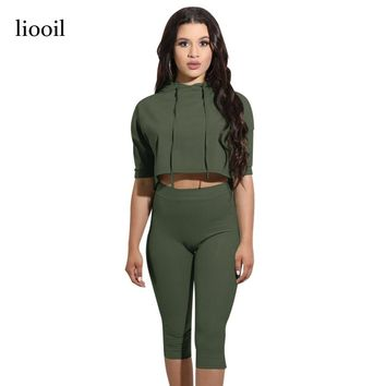 Liooil New Two Piece Rompers Womens Jumpsuit Half Sleeve Hooded Crop Top High Waist Casual Female Jumpsuits Playsuit Overalls