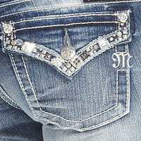 Miss Me Jeans, Bootcut Light-Wash Rhinestone Studded - Womens Jeans - Macy's
