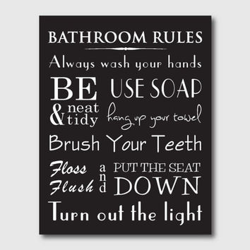 Bathroom Wall Art - 11 x 14 - Bathroom Rules - Typography Art - vintage, chalkboard, or black and white