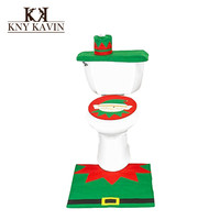 Christmas Elf Toilet Cover Santa Claus Toilet 3pcs/Set Include Toilet Tank Lid Cover + Pads + Towel Sets For Christmas HF025