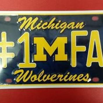 NCAA Michigan Wolverines Metal #1 Fan License Plate