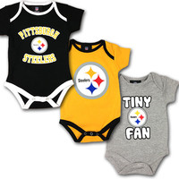 Steelers 3 Pack Baby Body Suits
