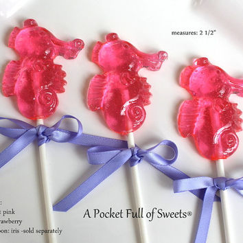 12 Seahorse Favors Birthday Baby Shower Hard Candy Barley Sugar Lollipops Gifts Seahorses Favors The Little Mermaid Party
