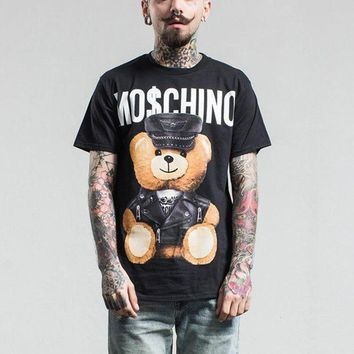 PEAPYV3 Tide Brand Fashion Men Women T shirt 2017 Top Quality Leather Bear Toy Cotton Casual Short Sleeve Men Top Tees