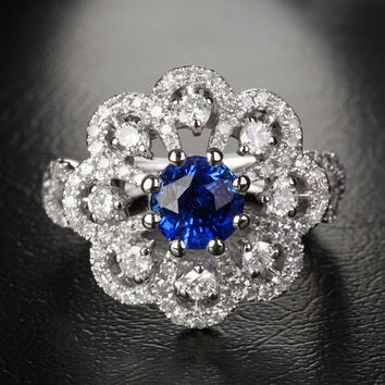 Flower 1.15ctw Natural Blue Sapphire 1.45ct Diamonds by ThisIsLOGR