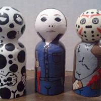 "Little Wooden Horror Villains, wooden peg people""CHOICE OF ONE"""