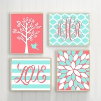 CORAL Aqua Nursery Wall Art, Baby Girl Nursery Decor, Girl Tree Bird Art, Girl Monogram, Girl Bedroom Wall Decor, CANVAS or Print Set of 4