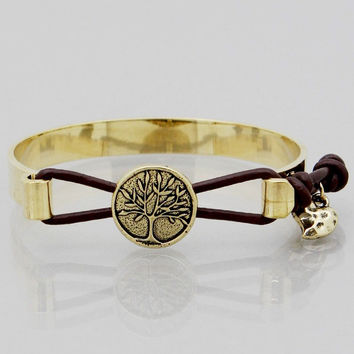 Tree Of Life Faux Leather and Metal Bangle Bracelet