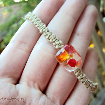 15% off CIJ SALE Square Knot Hemp Bracelet Orange Splash Macrame Unisex