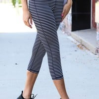 High-Waist Stripe Me Up Legging, Navy